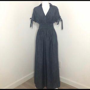 eshakti chambray short sleeve maxi dress, size L